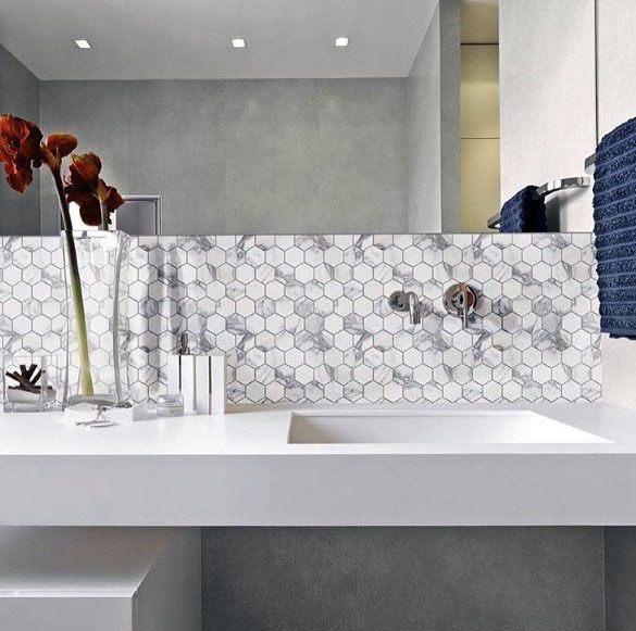 Top 70 besten Badezimmer Backsplash Ideen - Waschbecken Wand Desig