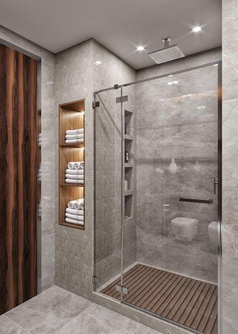 Moderne Badezimmer Design Ideen | Small bathroom, Modern master .