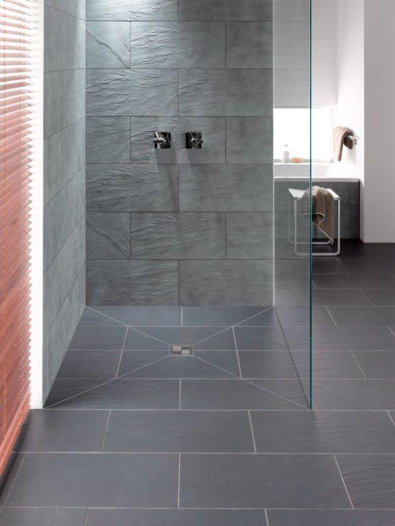 Offene Bodendusche * Glaswand * moderne Badezimmerideen * graue .