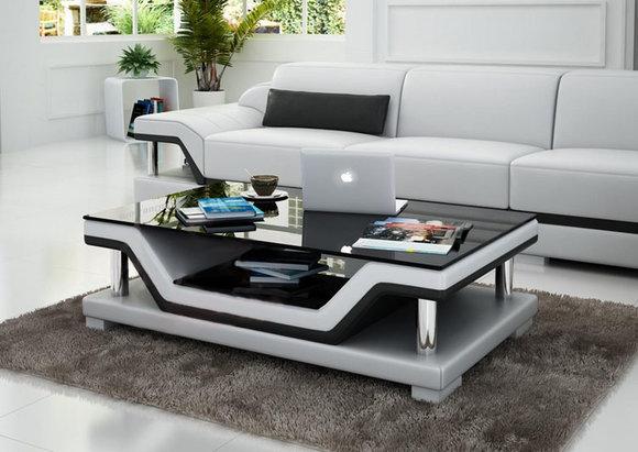 Designer Couchtisch Polster Tisch Leder Glas Moderner Tische .