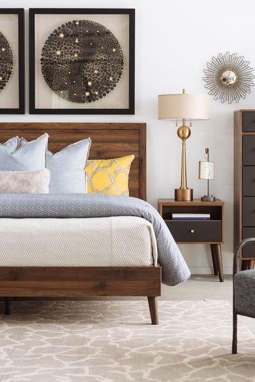 Mid-Century Modern King Bed in Brown | Brown furniture bedroom .