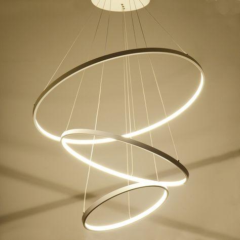 EU Lager) Moderne Pendelleuchte Led Ring Design aus Acryl 80cm+ .