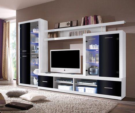 Wohnwand CAN CAN 4 LUX - weiß-schwarz - Glasfronten   Wall tv unit .