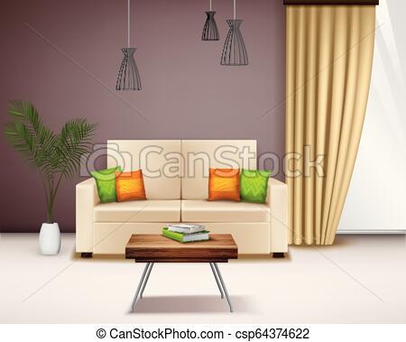Realistisches innenbild. Moderner komfortabler beige-liebessitz .