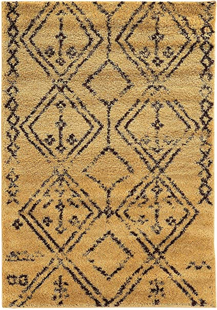 Moderner Shag Teppich in Braun und Camel (5 ft. L x 3 ft. W (7 18 .