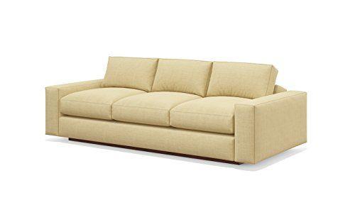 TrueModern Jackson Standard Sofa with Fabric, Honey Finish, 92 .