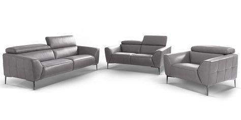 3-2-1-Sitzer Design Ledergarnitur Lazio › mit Chromfüssen .