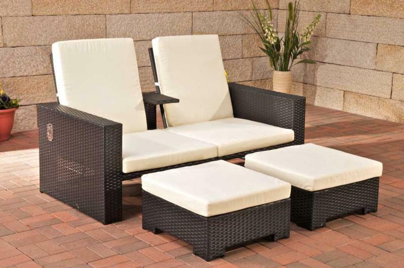 modernes Gartensofa verstellbar Polyrattan schwarz Outdoor .
