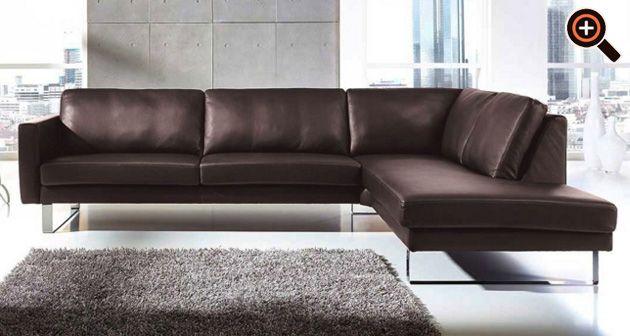 Modernes Sofa – Designer Couch fürs Wohnzimmer aus Leder – schwarz .
