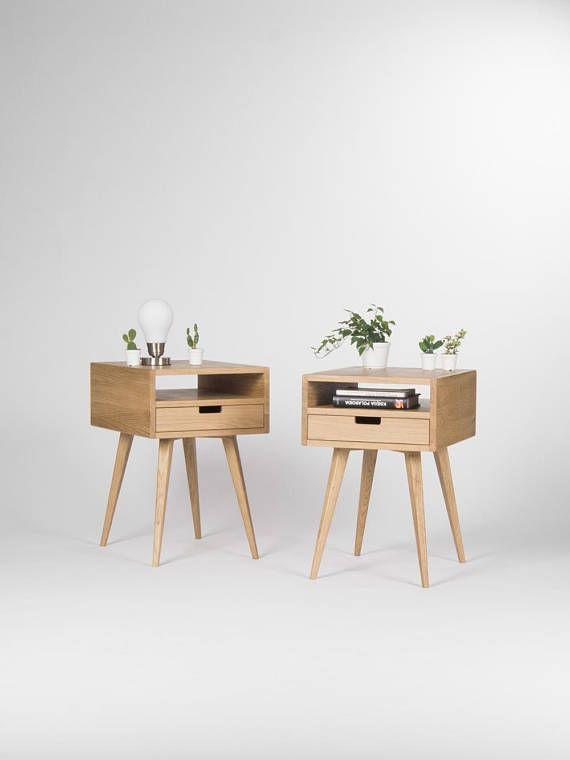 Paar moderner Nachttisch, Mid-century modern | Nachttisch eiche .
