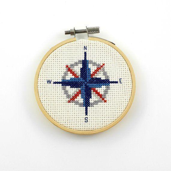 Kompass Kreuzstich PDF-Muster, nautische Instant PDF-Download .