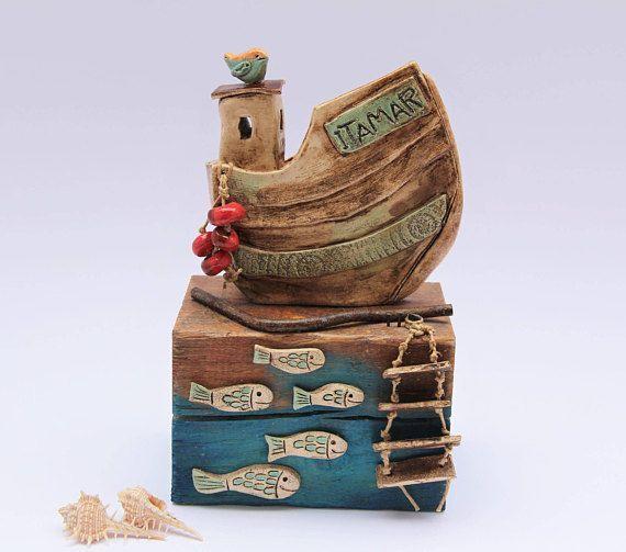 VERKAUFT - Keramik Fisch Boot Vogel und Leiter, nautische .