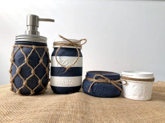 Nautische Bad Mason Jar Set • gemalt Mason Jar • Bad Dekor .