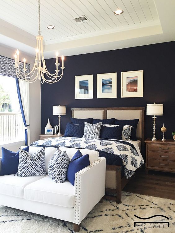 blue bedroom navy blue bedroom idea Aesthetic modern bedroom .