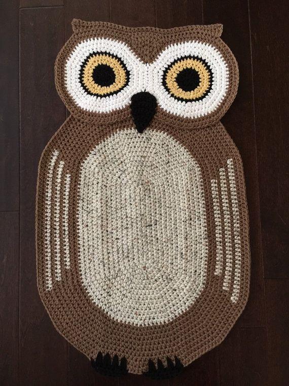 Crochet Oval Owl Rug,Owl Rug,Hand made Rug, Oval Rug,Kids Rug .