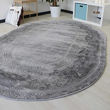 Amazon.de: Teppich Grau Oval Wohnzimmer Velour Bordüre Ornamente .