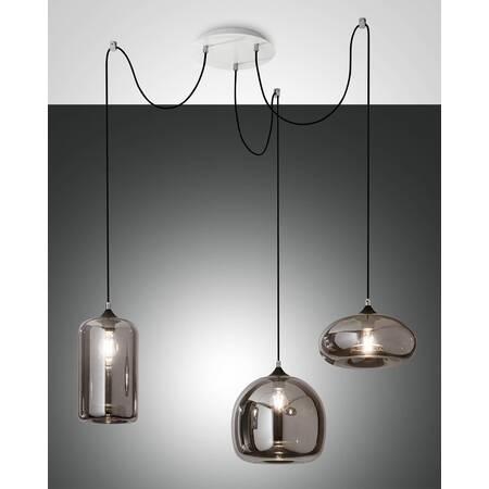 Pendelleuchten-Ensemble Fabas Luce FIONA 3-flammig E27 Glas .