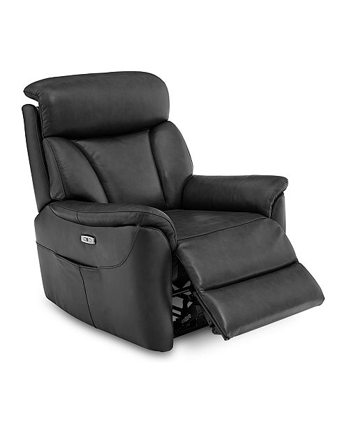 Furniture Brycin Leather Power Recliner with USB Power Outlet .
