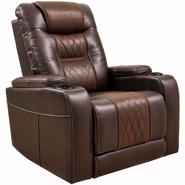 Composer Brown Power Recliner with Adjustable Headrest 2150713 .