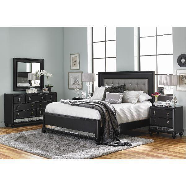 Diva Midnight Black Queen 4 Piece Bedroom Set | Black bedroom sets .