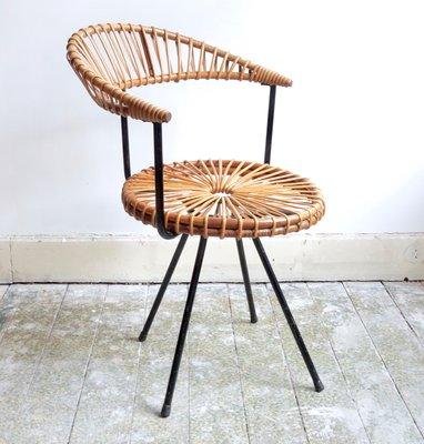 Vintage Rattan Chair by Dirk van Sliedregt for Gebroeders Jonkers .