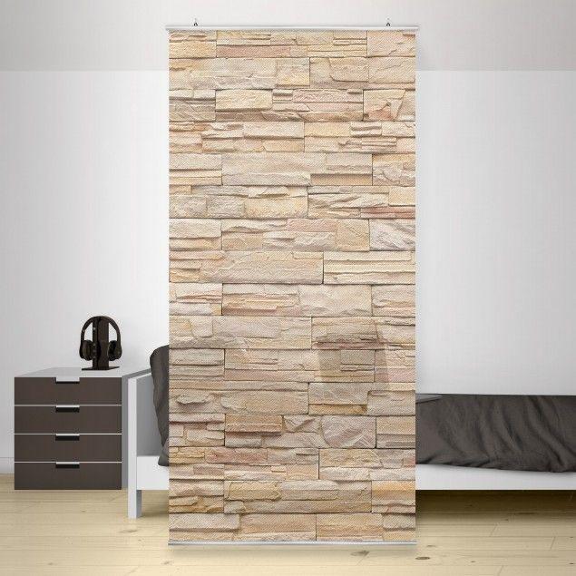 Raumteiler - Asian Stonewall - Große helle Steinmauer aus .