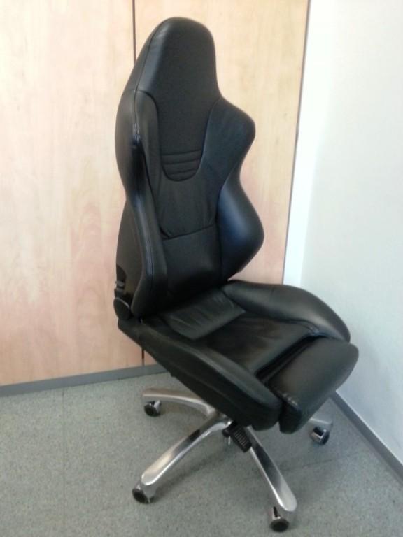 Bürostuhl Recaro Sport schwarz Leder Office Stuhl Drehstuhl Sitz .