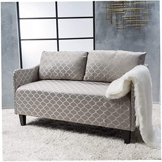 Amazon.com: Wood & Style Home Aurelia Grey Pattern Fabric Loveseat .