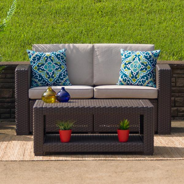 Chocolate Brown Faux Rattan Loveseat w/ All-Weather Beige Cushions .