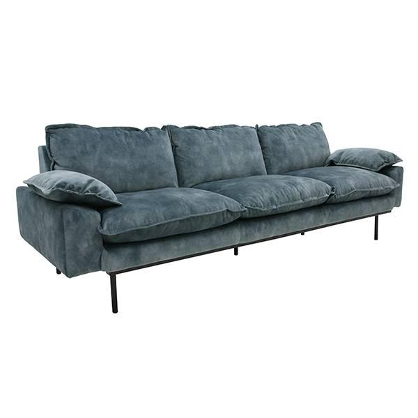 HK-Living Retro sofa 4-seater petrol velvet - LIVING AND C