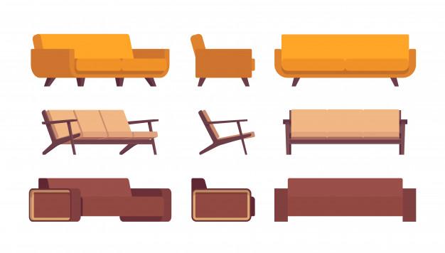 Set of retro sofas   Premium Vect