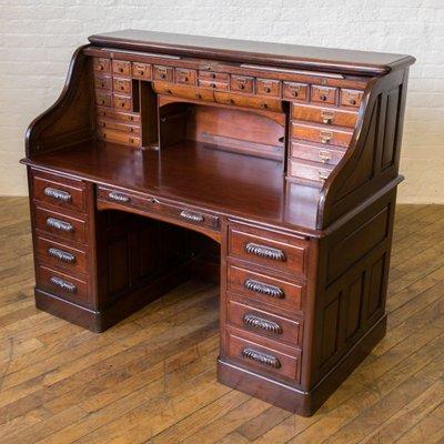 Edwardian Walnut Roll Top Desk for sale at Pamo