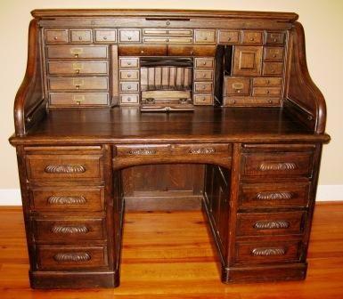 Antique Oak Roll Top Desk | Holz und Einrichtu