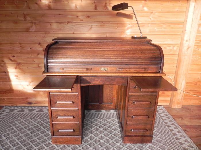 Schreibtisch, Roll-Top-Schreibtisch - Eiche - ungefähr 1890 - Catawi