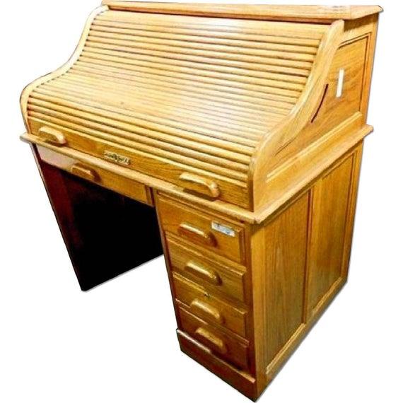 Roll Top Schreibtisch schreiben Tisch Vintage Brust Eitelkeit | Et