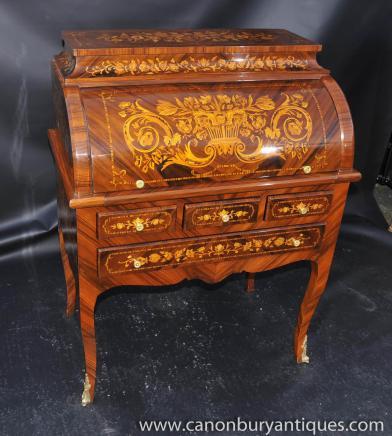 Französisch Louis XV Roll Top Schreibtisch Büro Schreibtisch Inlay .