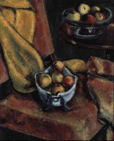 Apfelstilleben auf rosa Stuhl by Anton Faistauer on artn