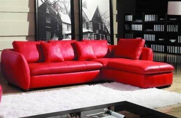 Rotes Schnittsofa aus Leder