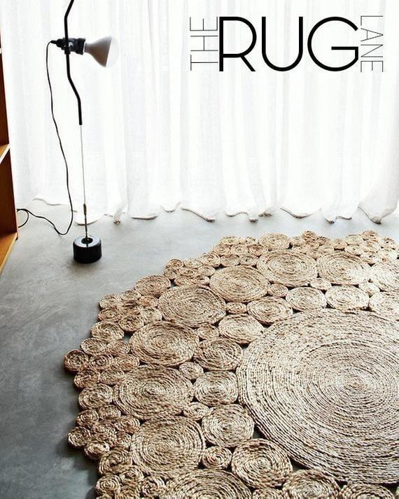 JUTE runden Teppich 180CM Handarbeit Naturhanf Teppich | Kobereček .