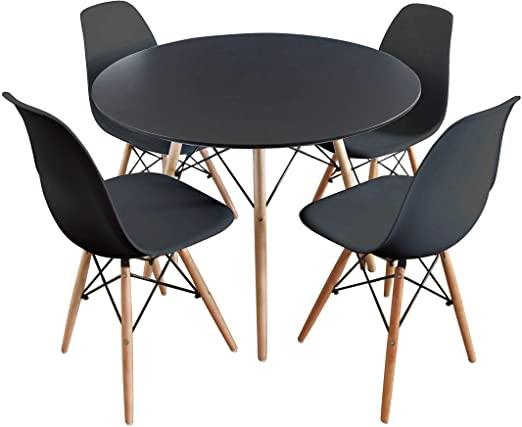 Mirjan24 Essgruppe, Tisch Fiorino Runde + 4X Stühle Fiore .
