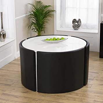 Amazon.de: Glänzend weißer runder Tisch mit 4 Stühlen .
