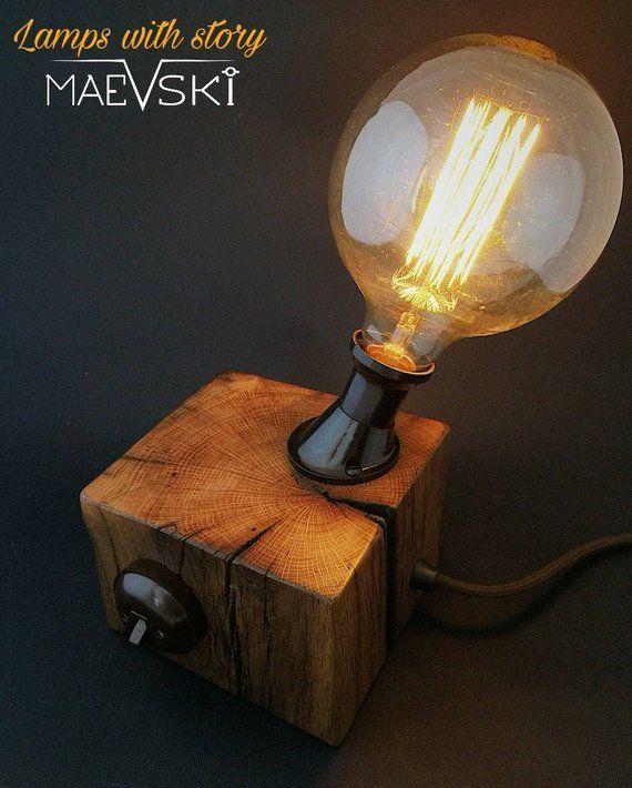 Holztischlampe, Industrielle Beleuchtung, Rustikale Beleuchtung .