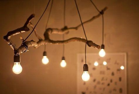 Holz Lampen selber machen – Deko mit Zweigen im Naturlook zu Hause .