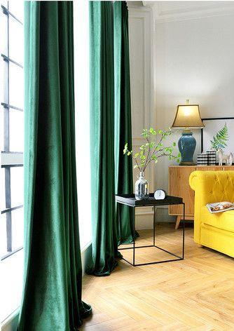 Paar Samtvorhänge in Smaragdgrün | Vorhänge wohnzimmer, Moderne .