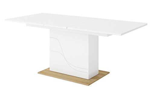 Tisch ausziehbar Esstisch Saulentisch WAVE Weiß Hochglanz: Amazon .
