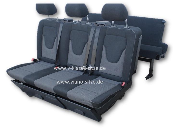 3-er Schlafbank V-Klasse Santiago schwarz - AOS24 - Viano Vito .
