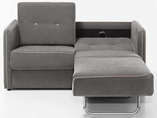 Schlafsofa Merina Grau Blau Weiß Mikrofaser Stoff Sofa Couch .