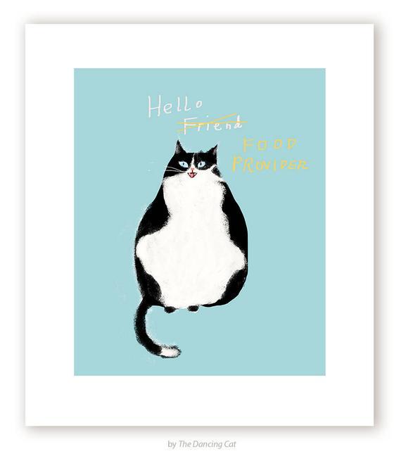 Hallo Freund/Food Anbieter lustige Katze Druck Katze Kunst | Et