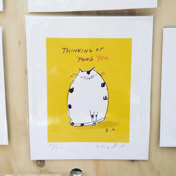Ich denk an dich / essen Katze Druck lustige Katze Druck | Et