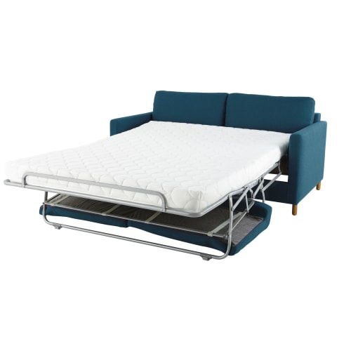 3-Sitzer-Schlafsofa petrolblau, Matratze 14 cm Julian | Maisons du .